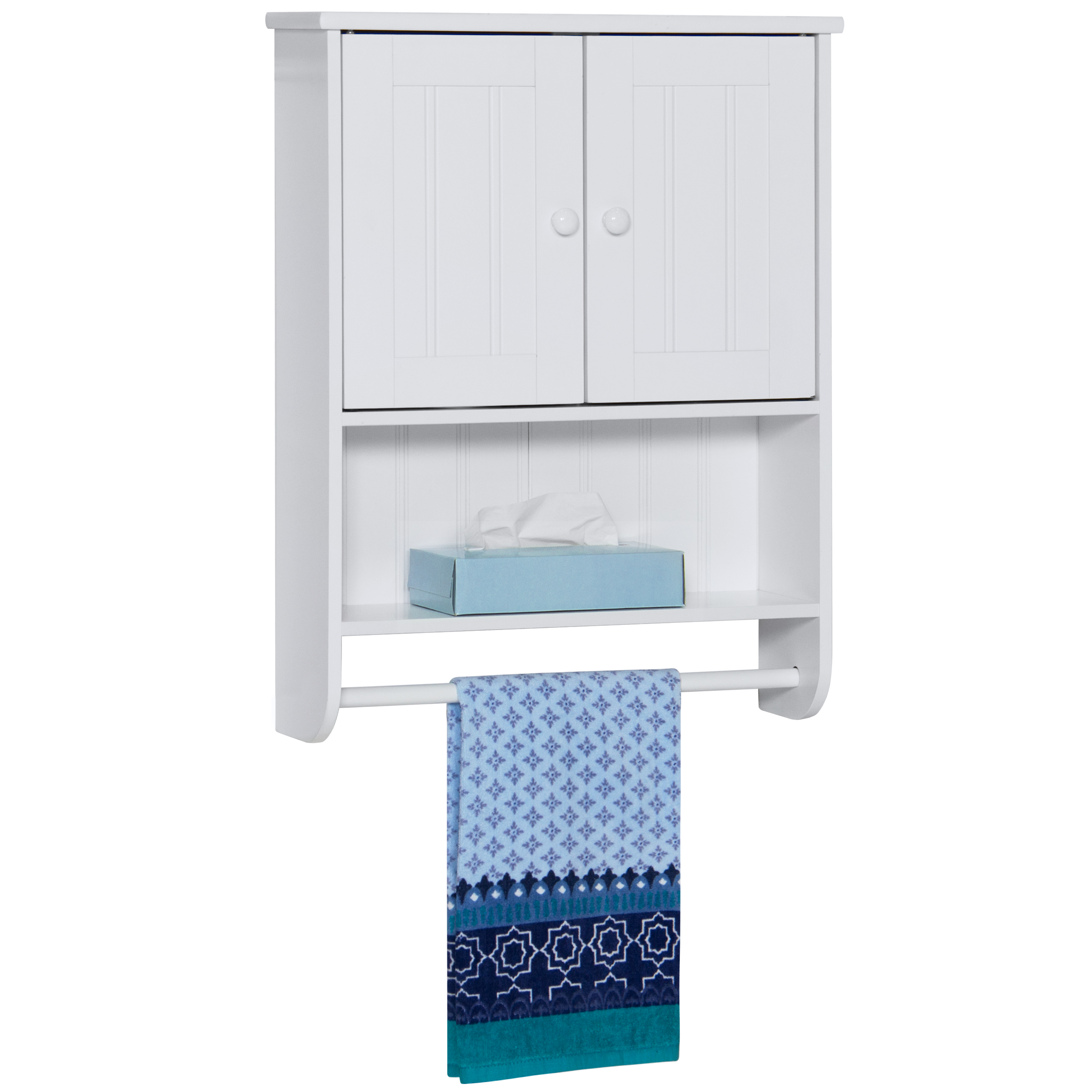 Best Choice Products Modern Contemporary Wood Bathroom Storage Organization Wall Cabinet w/ Open Cubby, Adjustable Shelf, Double Doors, Towel Bar, Wainscot Paneling - White