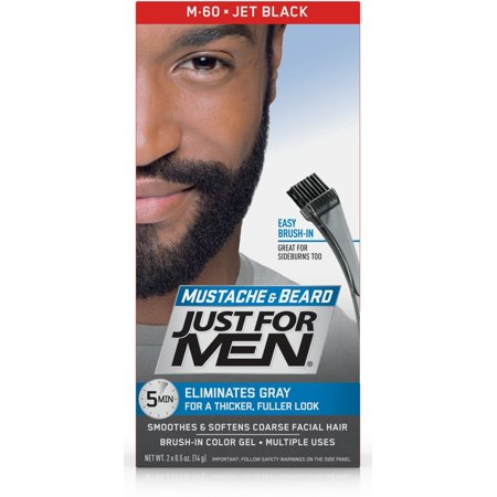 Just For Men Mustache and Beard, Brush-in Color Gel, Jet Black ...