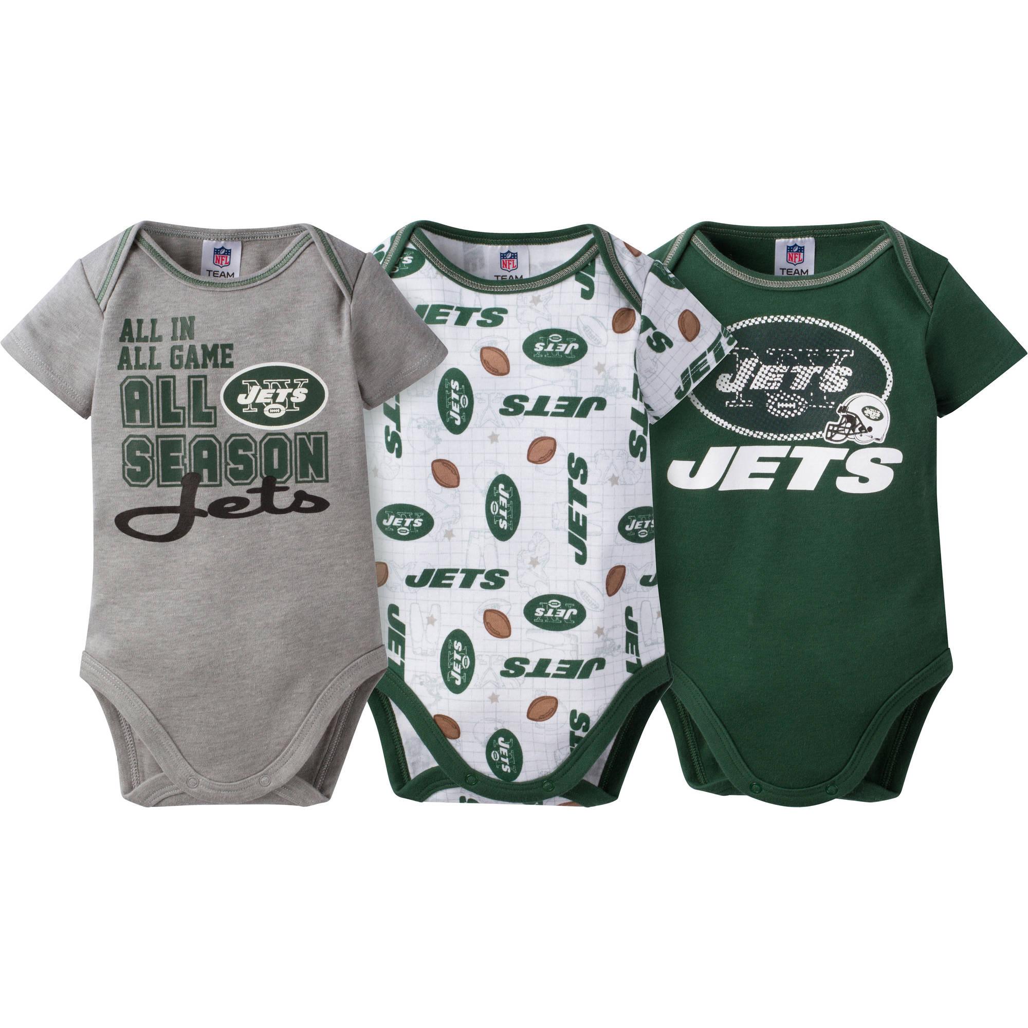 NFL New York Jets Baby Boys Short Sleeve Bodysuit Set, 3-Pack