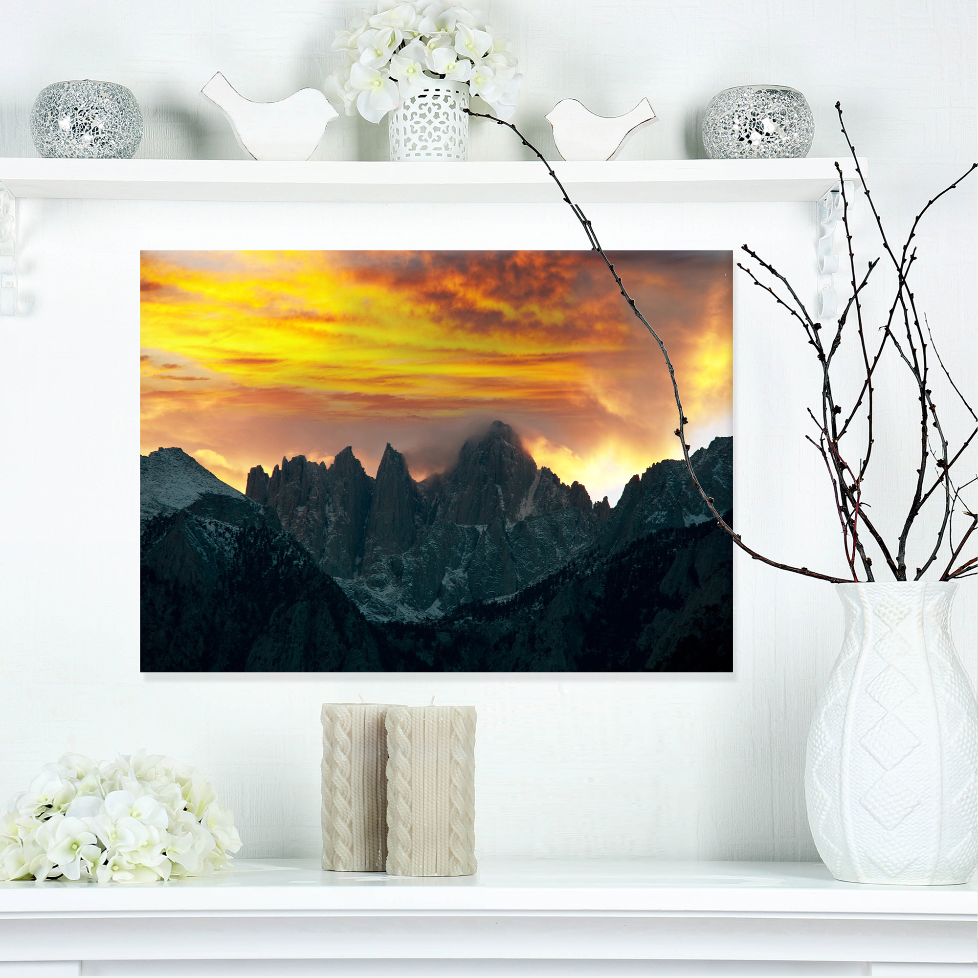 Whitney Mountains under Cloudy Sky - Oversized Landscape Canvas Art - image 3 of 3