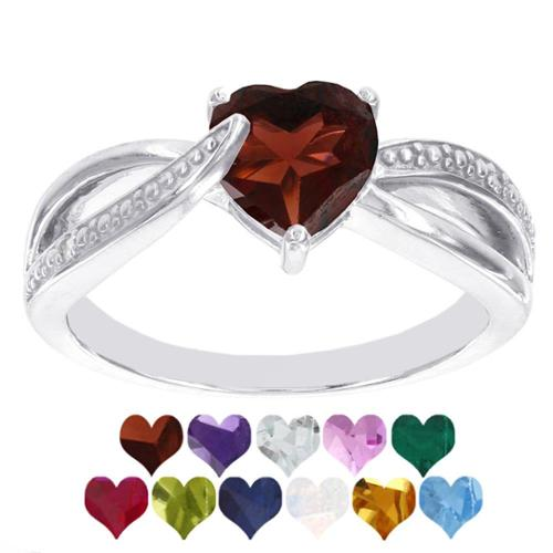 H Star Sterling Silver Heart Birthstone Diamond Accent Ring (I-J, I2-I3) Created Sapphire Size 4