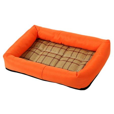 Pet Dog Cat Indoor Bamboo Carpet Summer Heat Resistant Sleeping Bed (Orange, ...