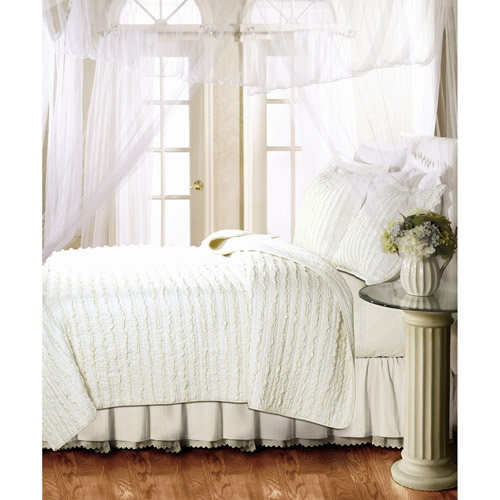 Global Trends Georgina Ruffles Quilt Set, Ivory