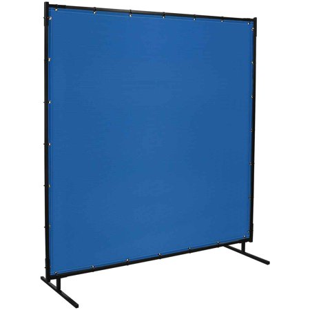 Steiner 535-6X8 Protect-O-Screen Classic with Blue Vinyl Laminated Polyester Welding Curtain with Frame