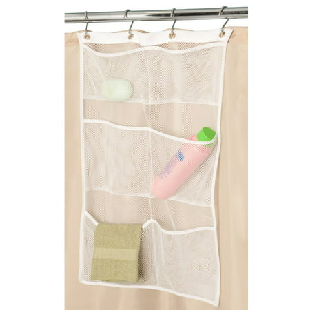 6 Storage Pockets Hanging Mesh Shower Caddy,Space Saving Bathroom Accessories and Quick Dry Bath Organizer,White-Four Rings ()