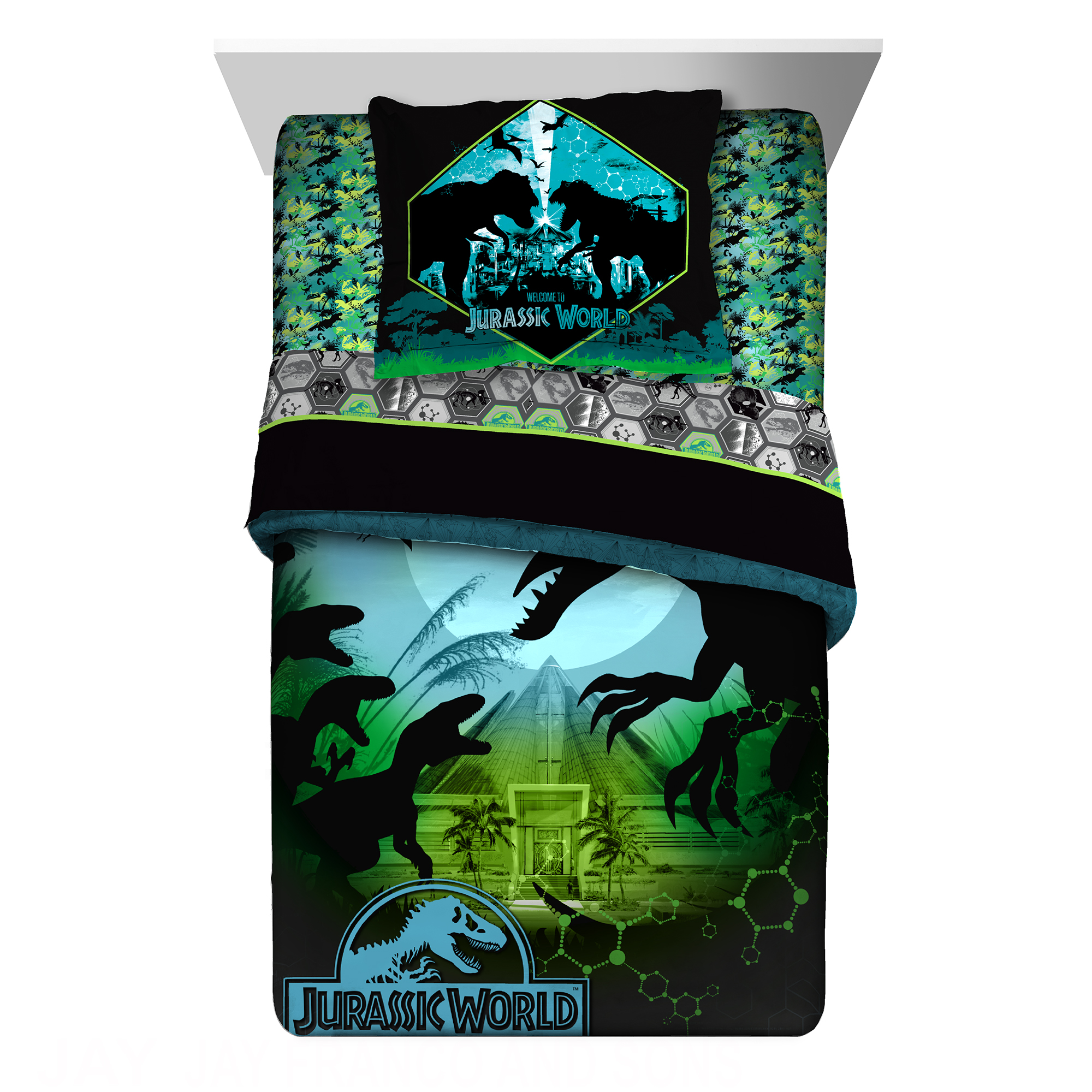 Universal Jurassic World Biggest Growl Twin or Full Comforter with Sham Set