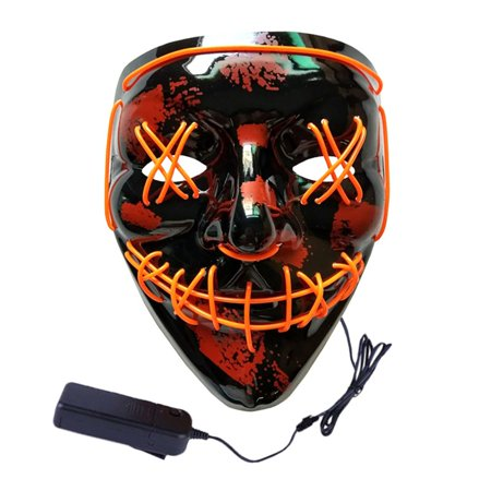 Scary Masks Australia (Fymall LED Halloween Scary Mask Cosplay Costume EL Wire Light up for Halloween Festival)