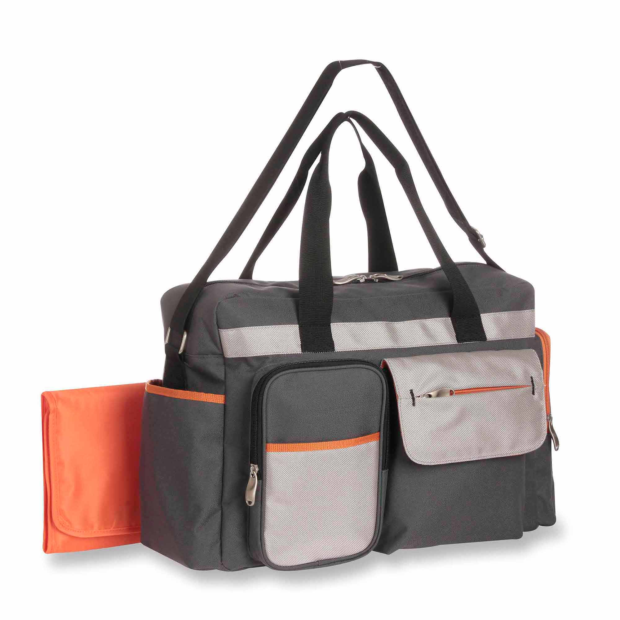 Graco Tangerine Collection Duffle Diaper Bag with Smart Organizer System  Grey w/ Orange