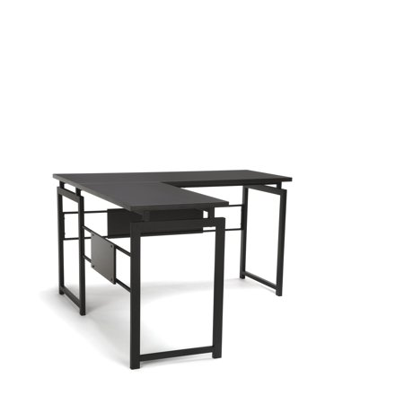 Essentials by OFM ESS-1020 L Desk with Metal Legs, Espresso with Black - Ofm Metal