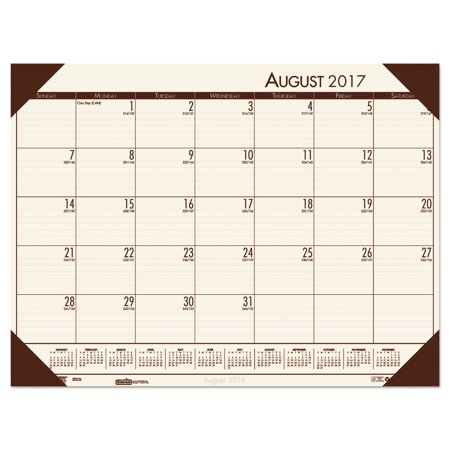 House of Doolittle Recycled EcoTones Academic Desk Pad Calendar, 18.5x13, Brown Corners, - Desk Pad House