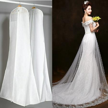 72'' Non-woven Wedding Dress Storage Dustproof Breathable Bridal Gown Clothes Garment Zip Bag Dust Cover White