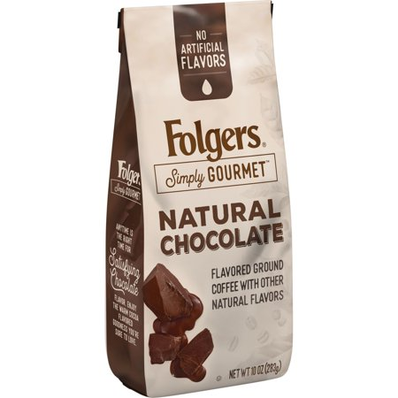 - Folgers Simply Gourmet Natural Chocolate Flavored Ground Coffee, With Other Natural Flavors, 10-Ounce Bag