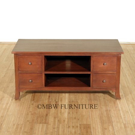 Solid Mahogany Distressed TV Stand Media Entertainment Center