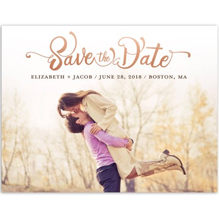 Brown Postcard - Whimsical Type Wedding Save the Date Postcard