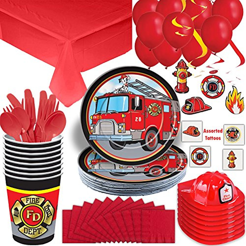 Flaming Fire Truck Beverage Napkins 16 Per Pack Firefighter Birthday