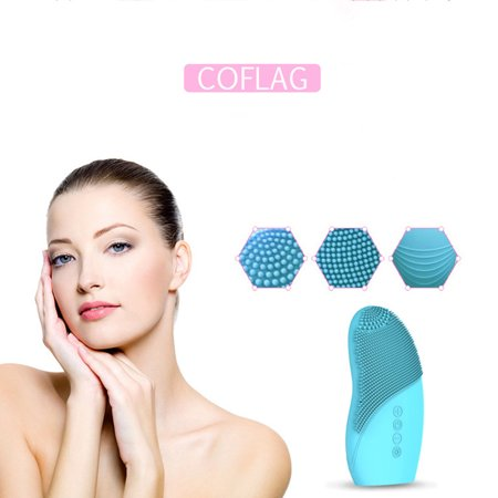 Instrument Washing - Facial Cleansing Instrument, Silicone Facial Cleansing Brush Ultrasonic Electric Wash Massager Facial Sonic Cleansing Instrument, Blue