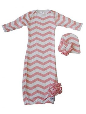 Woombie Indian Cotton Gowns Plus Hat, Pink Chevron, 1623 Lbs