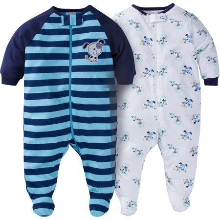 Newborn Baby Boy Zip Front Sleep N Play Footed Sleepers, 2 ...