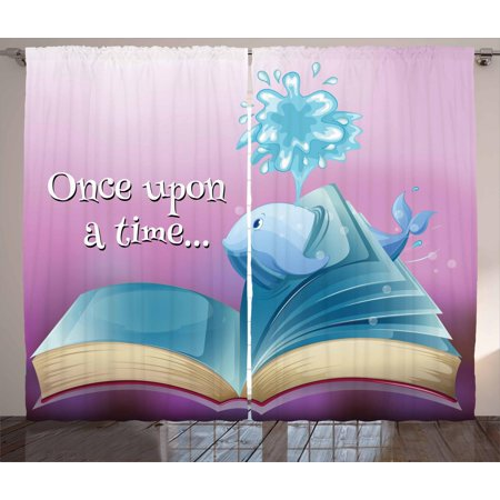 Once Upon a Time Curtains 2 Panels Set, A Storybook and Quote with Baby Whale Fantastic Ocean Tale Kids Cartoon, Window Drapes for Living Room Bedroom, 108W X 63L Inches, Multicolor, by Ambesonne ()