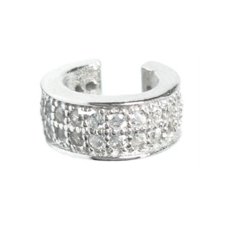 Queenberry Sterling Silver Round Cubic Zirconia Pave Earrings Cuffs Wrap Pave Pyramid Cuff