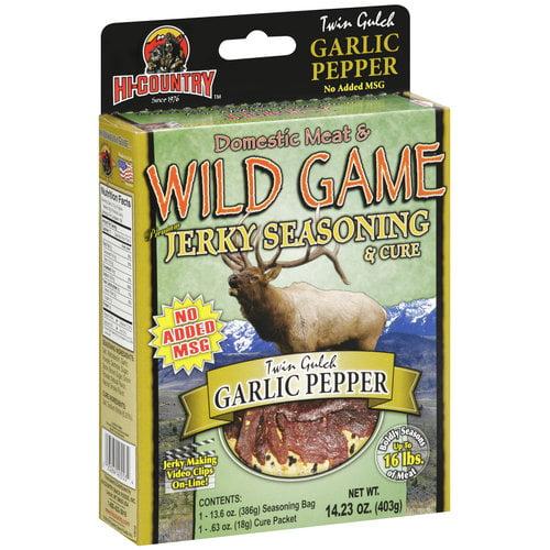 Hi-Country Domestic Meat & Wild Game Premium Jerky Seasoning & Cure Twin Gulch Garlic Pepper, 14.23 oz