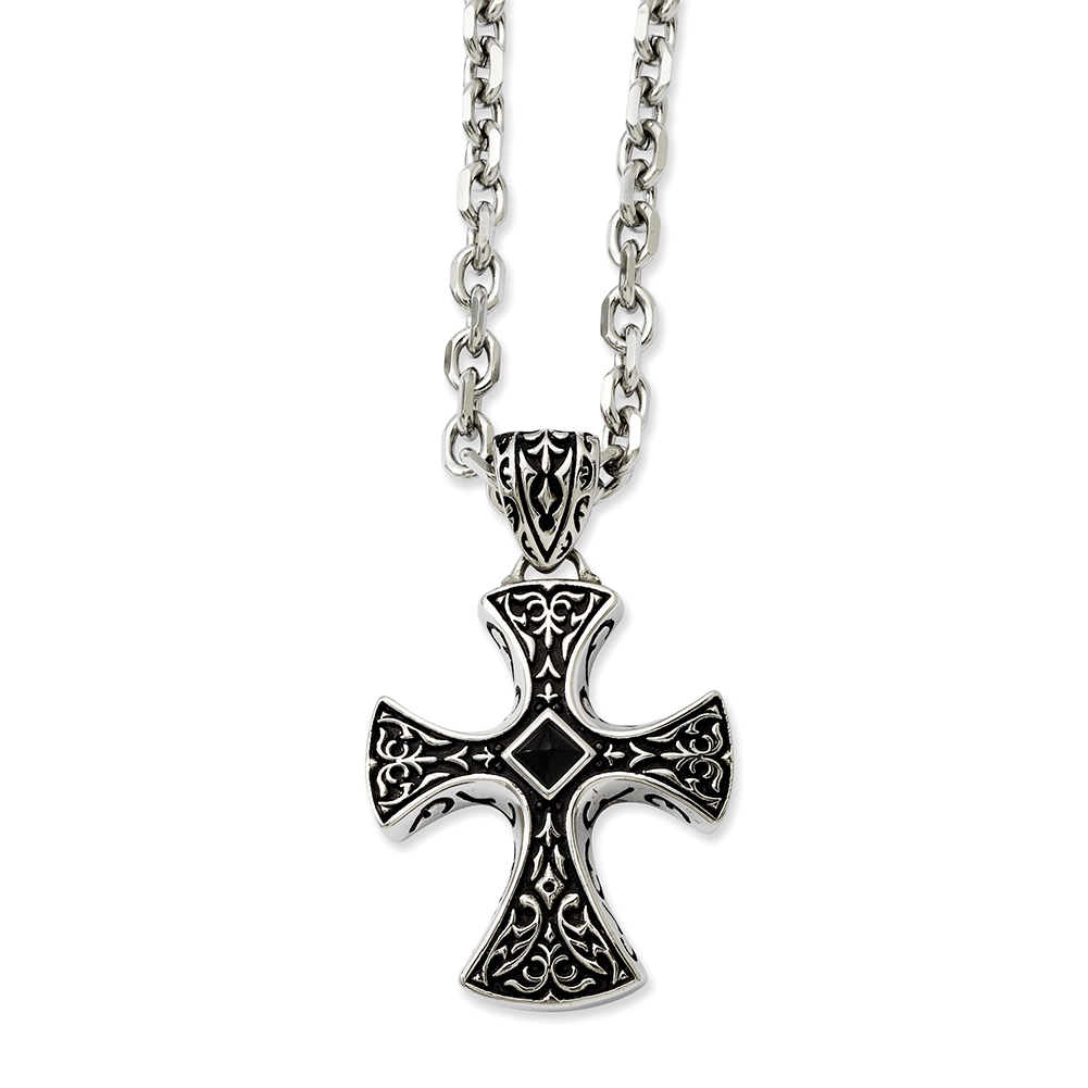 """Chisel Stainless Steel Black Agate & Antiqued Cross Pendant Necklace 24"""""""