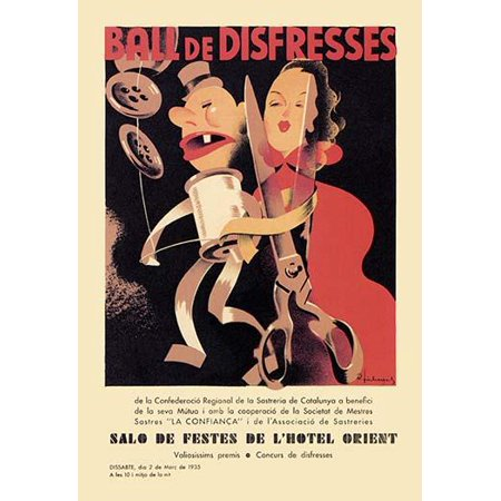 A costume ball the Ball de Disfresses to be held at the Salo de Festes de lHotel Orient 1935  The homemade costumes are promoted by the poster art of a spool of thread and a pair of scissors in human - Pocahontas Homemade Costume