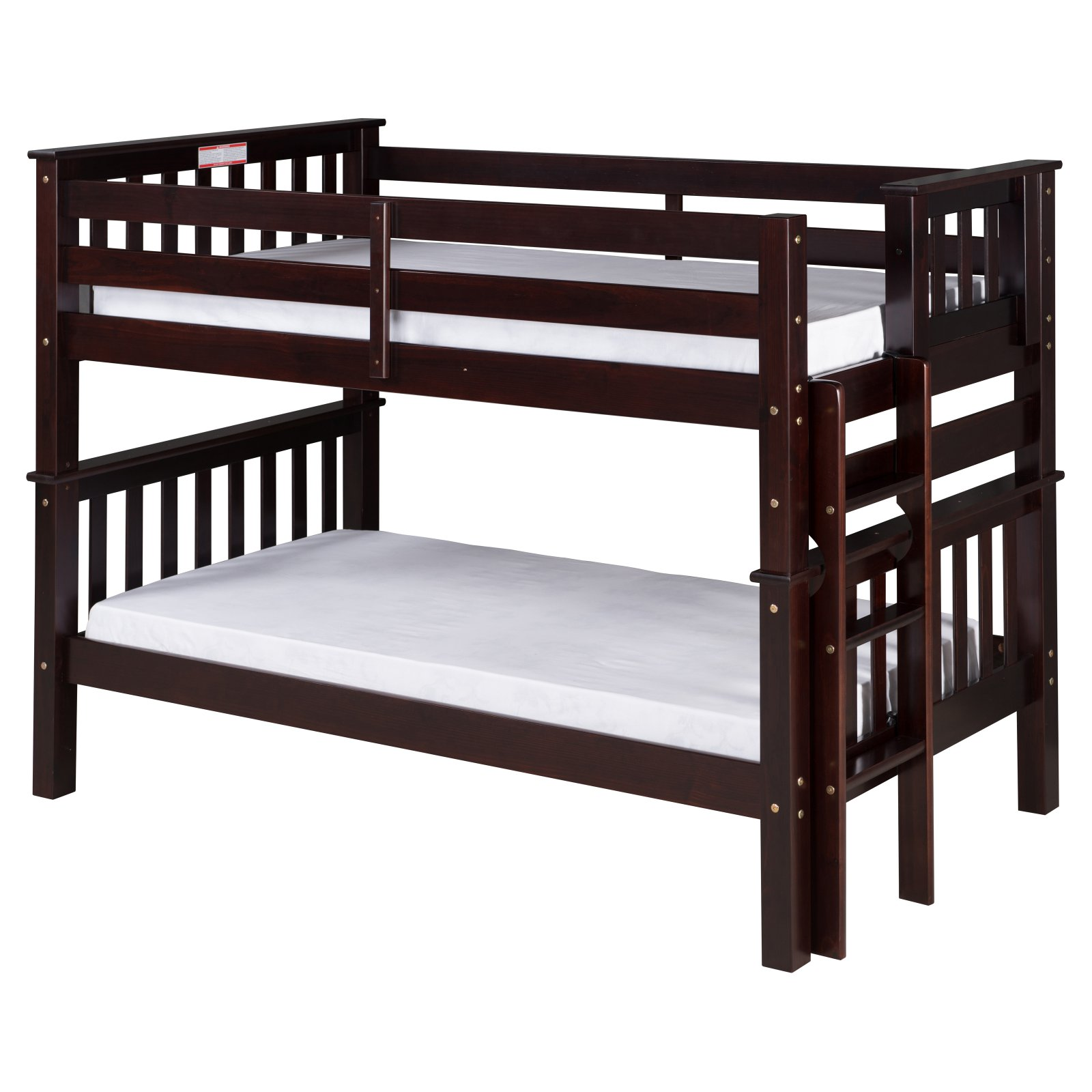 Santa Fe Mission Low Bunk Bed Twin over Twin - Bed End Ladder - Multiple Finishes