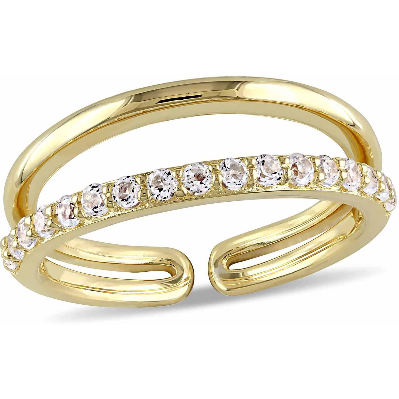 Miabella 3/4 Carat T.G.W. White Topaz Yellow Rhodium-Plated Sterling Silver Anniversary Ring