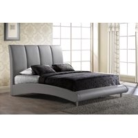 Upholstered Panel Bed in Gray (King)