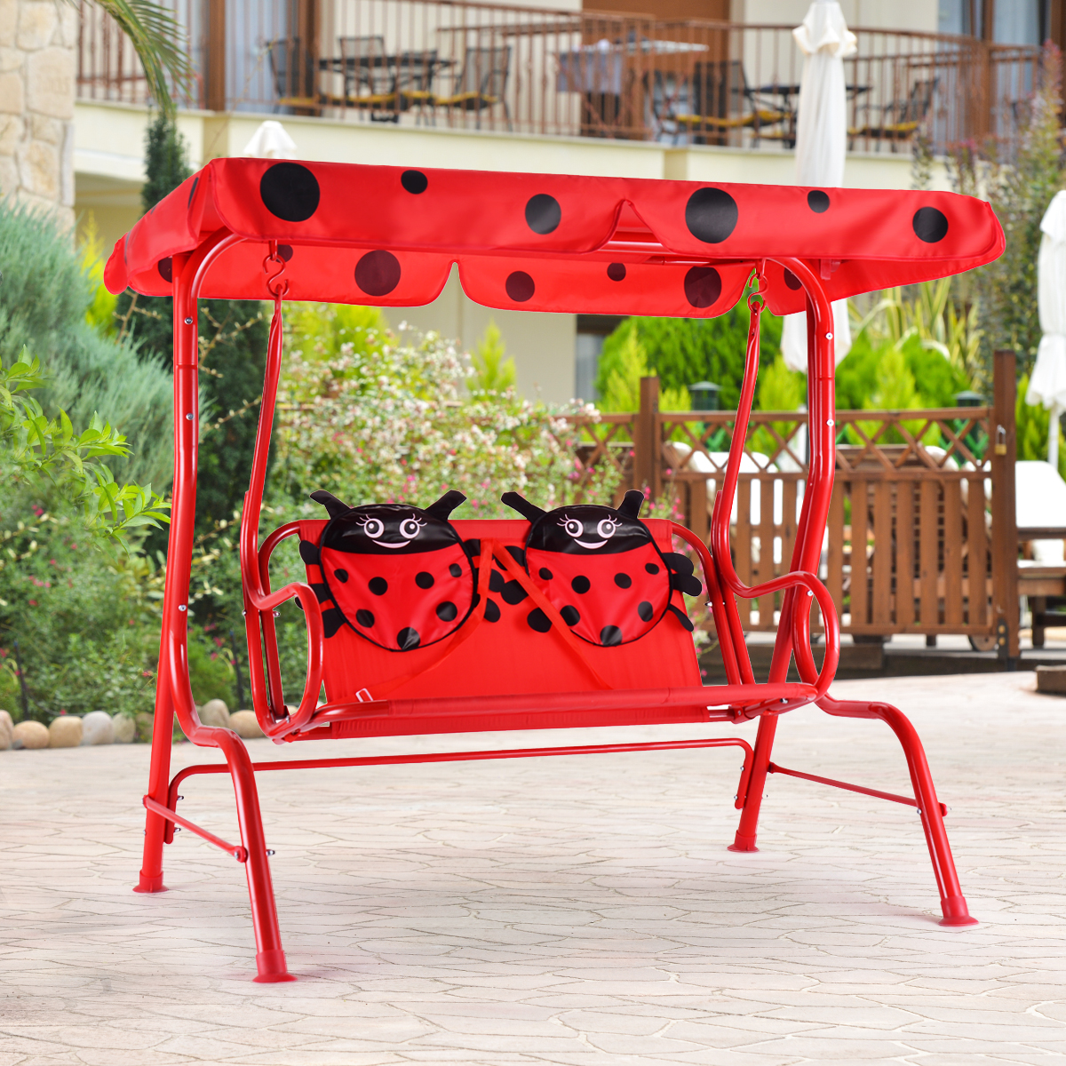 Kids Patio Swing Chair Children Porch Bench Canopy 2 Person Yard Furniture red - image 5 of 10