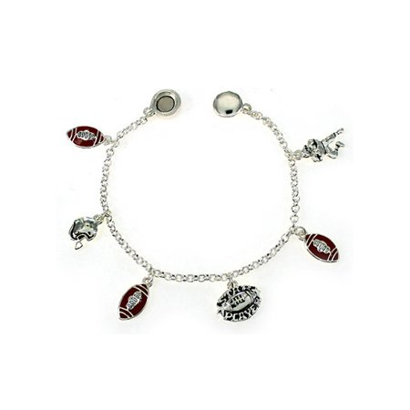 Silver-tone and Red Football Theme Charm Bracelet by Jewelry Nexus Star Player Helmet Quarterback
