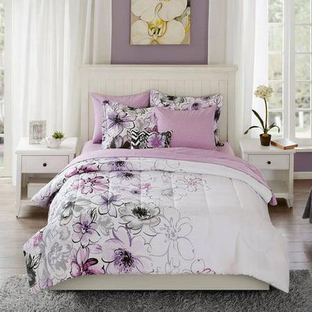 watercolor floral bedding comforter set collection full size luxury bed purple ebay. Black Bedroom Furniture Sets. Home Design Ideas