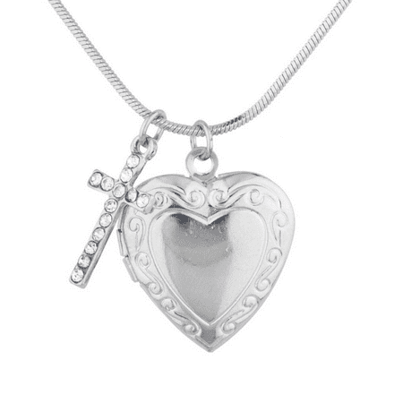 Lux Accessories Silver Tone Religious Communion Heart Cross Locket - Girls Communion Jewelry