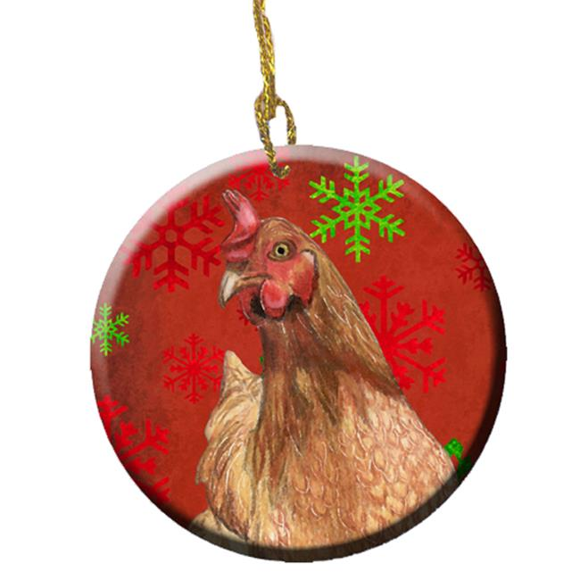 Chicken Red Snowflakes Holiday Christmas Ceramic Ornament, 2.81 Dia