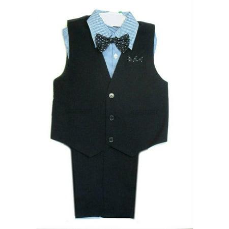 Rafael Baby Boys Navy Blue Plaid Shirt Vest Pants Bowtie 4 Pcs Suit