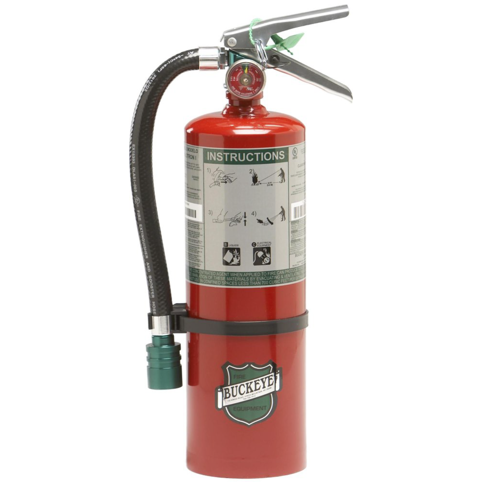 Buckeye, Fire Extinguisher, 5 lb Halotron Fire Extinguisher, Commercial, Industrial Grade Fire Extinguisher, Hose, Vehicle Bracket, 75555, Monthly Record Tag, Recommended for Server Rooms