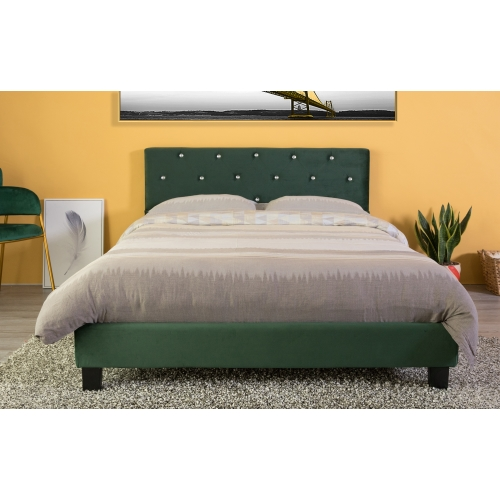 Velvet Tufted Platform Bed Frame Full Size Green