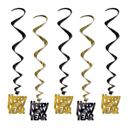 Club Pack Of 30 Gold And Black Whirls   Happy New Year   Party Decoration 33