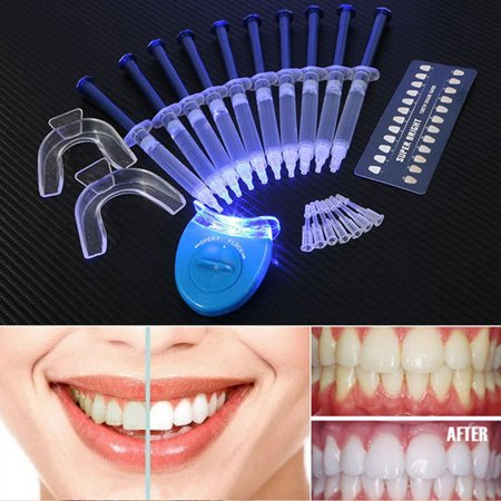 USA Teeth Whitening Kit (10) Tubes (2) Trays (1) White LED Light Best 44% CP