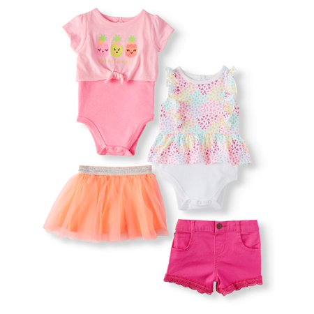 Baby Girls' Print Peplum Bodysuit, 2fer Tie-Front Bodysuit, Shorts and Tutu, 4-Piece Outfit Set - Tutu Outfit For Baby