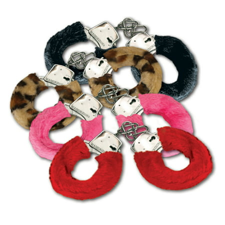 Joker Fuzzy Furry Metal Real Working Handcuffs W Keys - Assorted Color - Metal Handcuffs
