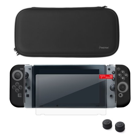 Nintendo Switch Starter Kit  By Insten Travel Carrying Case   Joy Con  L R  Protective Cover   Thumb Grip Stick Caps  Style 2    Screen Protector For Nintendo Switch Console Controller  Black Black