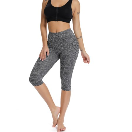 FITTOO Women's Yoga Capri with pockets Pants Elastic High Waist Sports Leggings Yoga Fitness Shorts Pants (6 Pocket Capris)