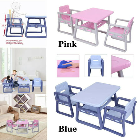 Kids Table and 2 Chairs Set Toddler Activity Table And Chair Storage Shelf For Toddler Furniture School Study Desk(Blue)
