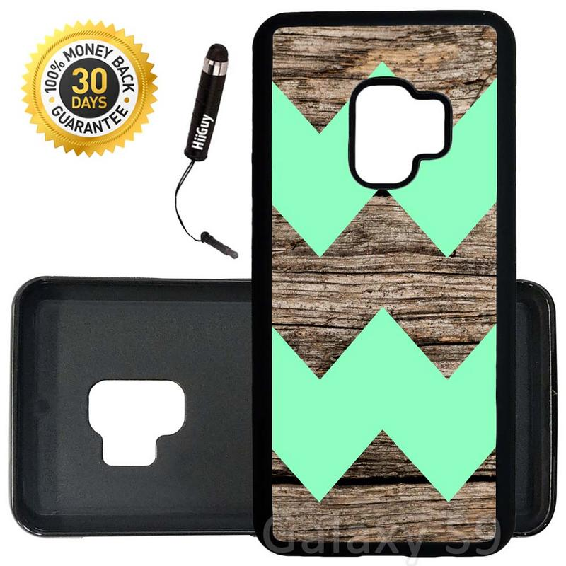Custom Galaxy S9 Case (Wood Design With Mint Colored Chevron) Edge-to-Edge Rubber Black Cover Ultra Slim | Lightweight | Includes Stylus Pen by Innosub
