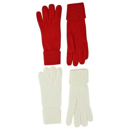 Red & Ivory Winter White 2-Pack Winter Wool Angora Blend Women's Gloves - Ivory Wool Blend