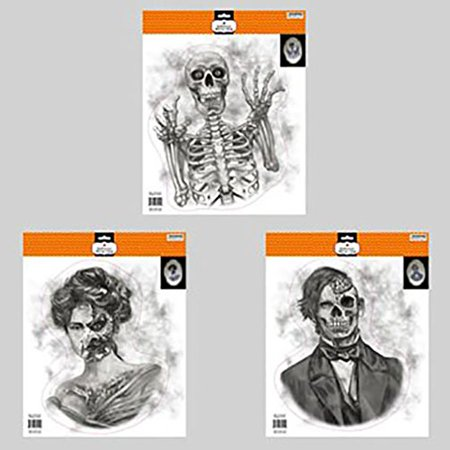 Scary Halloween Mirror Window Clings Zombie Ghost Goblin Skeletons (Set of 3), Set of three (3) Large Mirror Window Clings By Halloween Decor - Halloween Mirror Writing