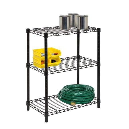 Honey Can Do 3-Shelf Steel Storage Shelving Unit, Black
