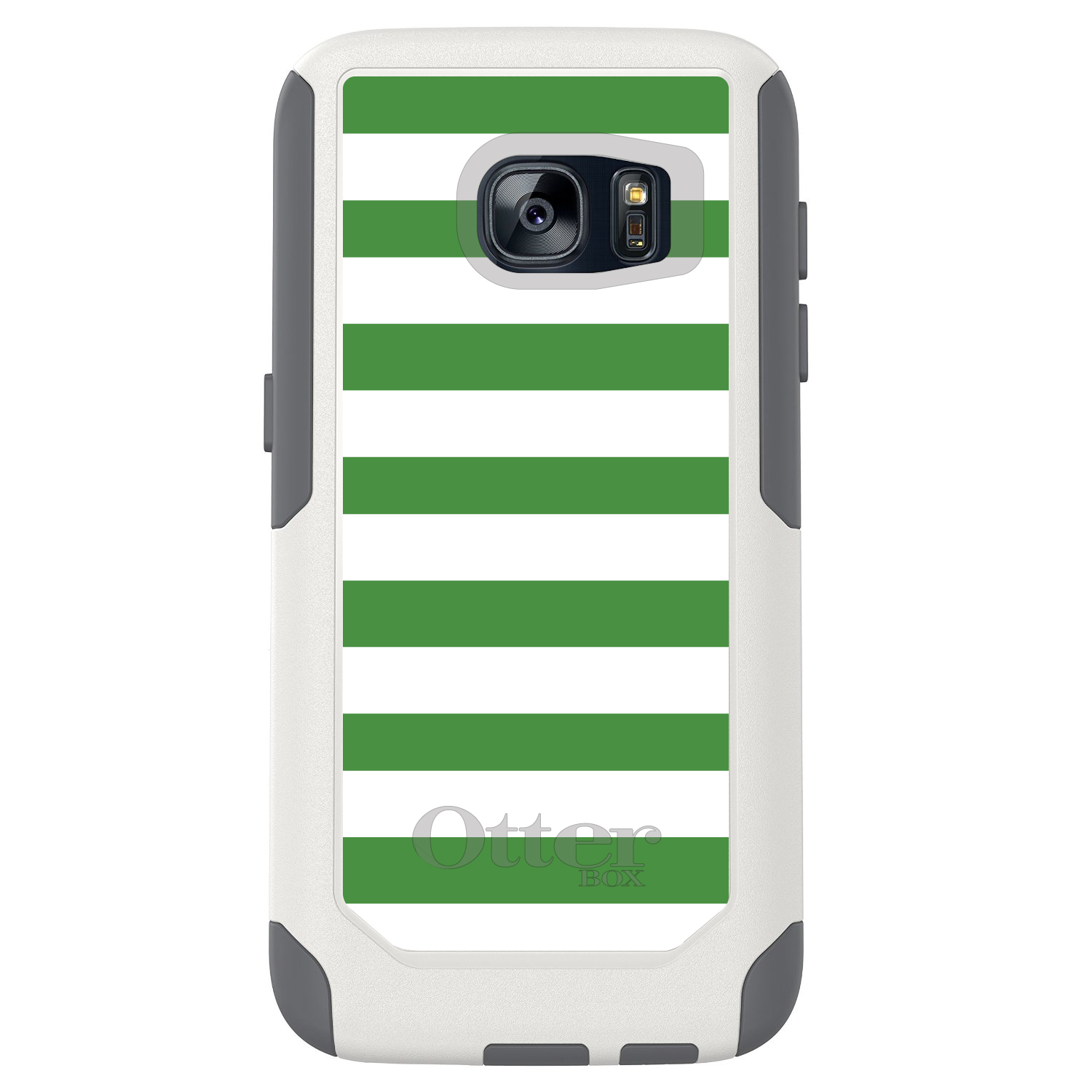 DistinctInk™ Custom White OtterBox Commuter Series Case for Samsung Galaxy S7 - Green & White Bold Stripes